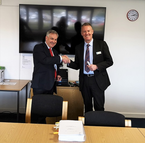 Rick Francis, Chairman at Tivoli, and Charles Holmes, Head of Community Services at Allerdale Borough Council following the contract signing