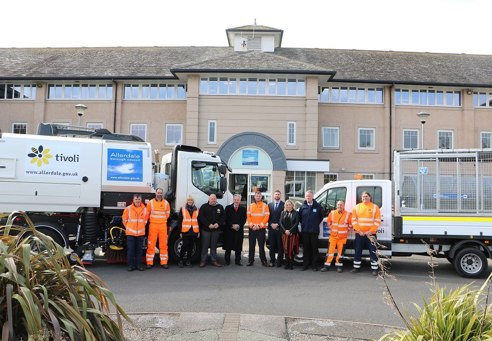 Members of Allerdale BC with some of the Tivoli team and the new street cleaning vehicles at Allerdale House